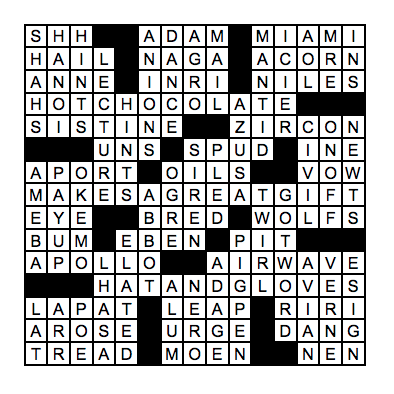Answers to the December crossword puzzle