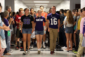 Marching band storms the halls