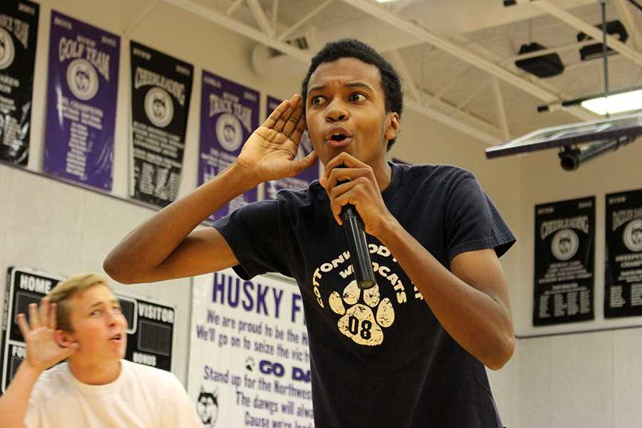 Junior Khari Banks performs in the TV show themed spirit day performance Tuesday morning.