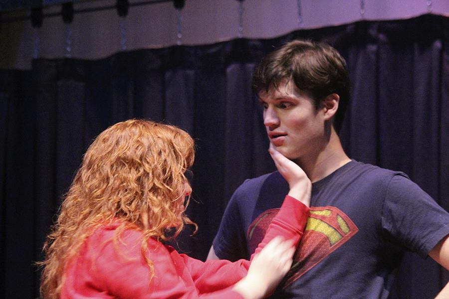 Seniors Mackenzie Beaman and Keith Klein run through their roles as husband and wife in their dress rehearsal Nov. 6.