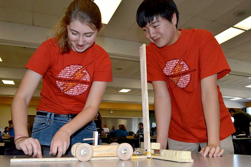 Veronica McKinny and Daniel Wang compete in a segment of Shawnee Mission South's Science Olympiad competition Nov. 9. The team took seventh overall.