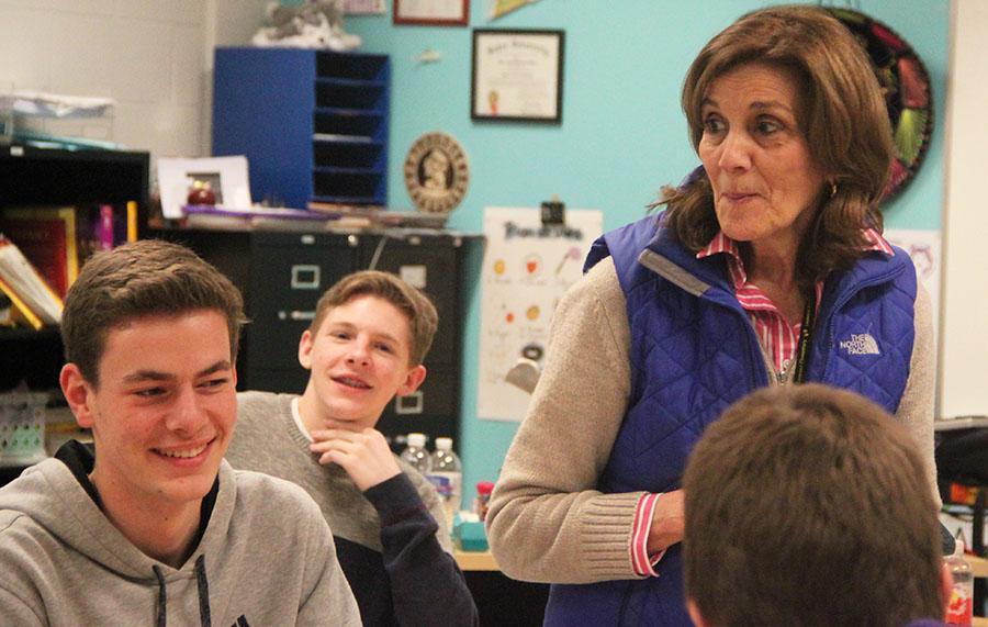 Substitute teacher for Spanish teacher Kari Hillen, Garciela Scannapieco, instructs her fifth hour Spanish 3.5 class in place of Hillen.