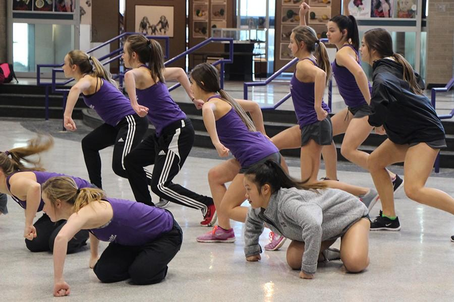The Dazzler dance team practice after school Feb. 9 for the national competition.