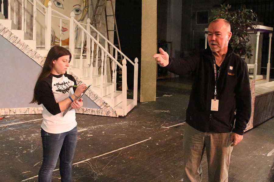 Drama teacher Steve Landes during practice for the winter musical,