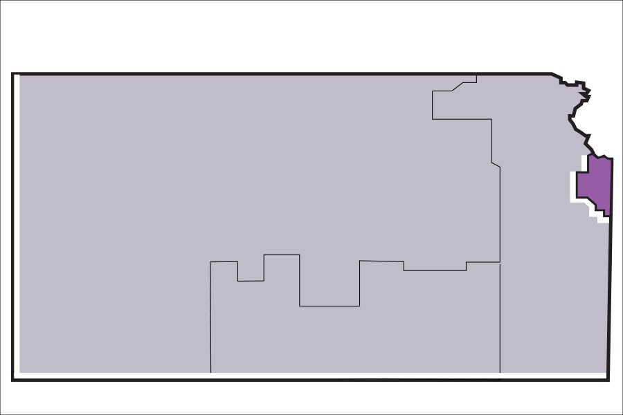 The democratic caucus for Kansas' 8th Senate District, which lies within the block in purple, will take place at BVNW.