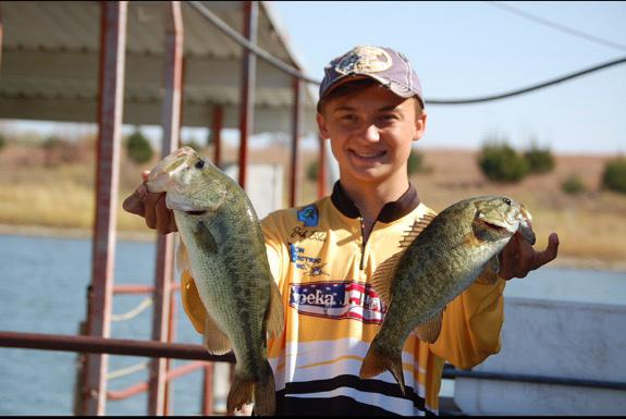 Freshman Brock Bila poses with his catches at the state competition on Milford Lake Oct. 24 (photo courtesy of Bila).