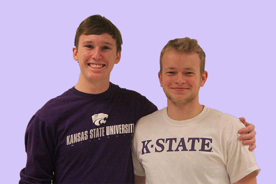 Seniors Matt Taylor and Brett Swanson pose together in their Kansas State gear. The two will room together after being friends since elementary school.