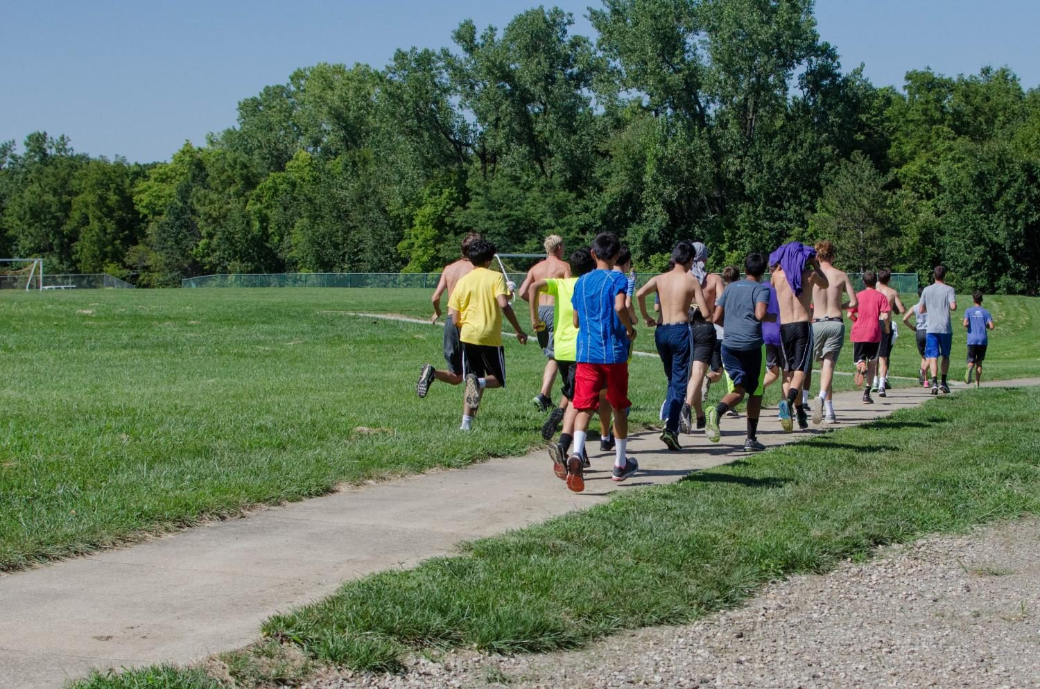 Cross country boys on a 4-mile recovery run.