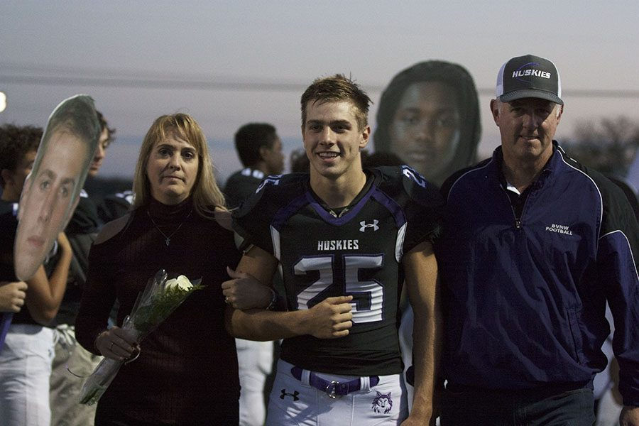 BVNW senior Garrett Parks (25) smiles as he is recognized prior to the game against Manhattan High School at the DAC Oct. 20.