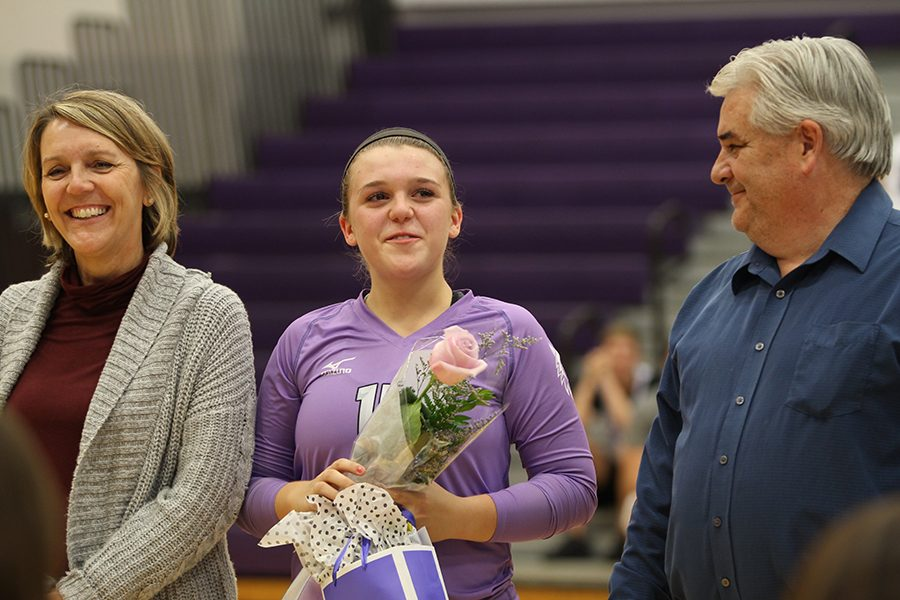 BVNW senior Anna Chalupa (15) gets emotional as shes recognized prior to the Senior Night game against Shawnee Mission West at BVNW Oct. 16.