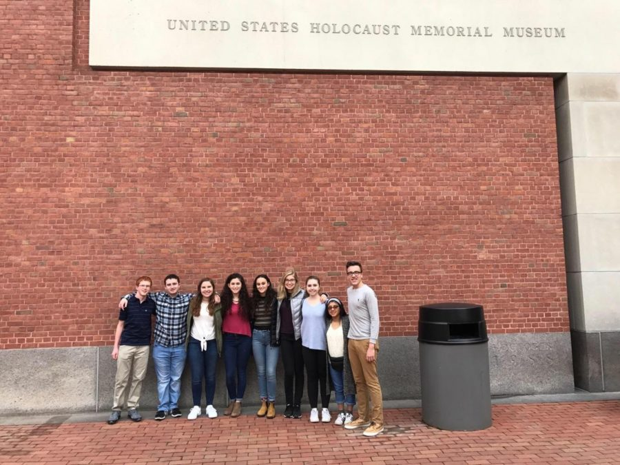 Sophomore+Brayden+Cardozo+%28second+from+the+left%29+stands+outside+the+United+States+Holocaust+Memorial+Museum+with+other+students+chosen+through+the+Together+We+Remember+program.