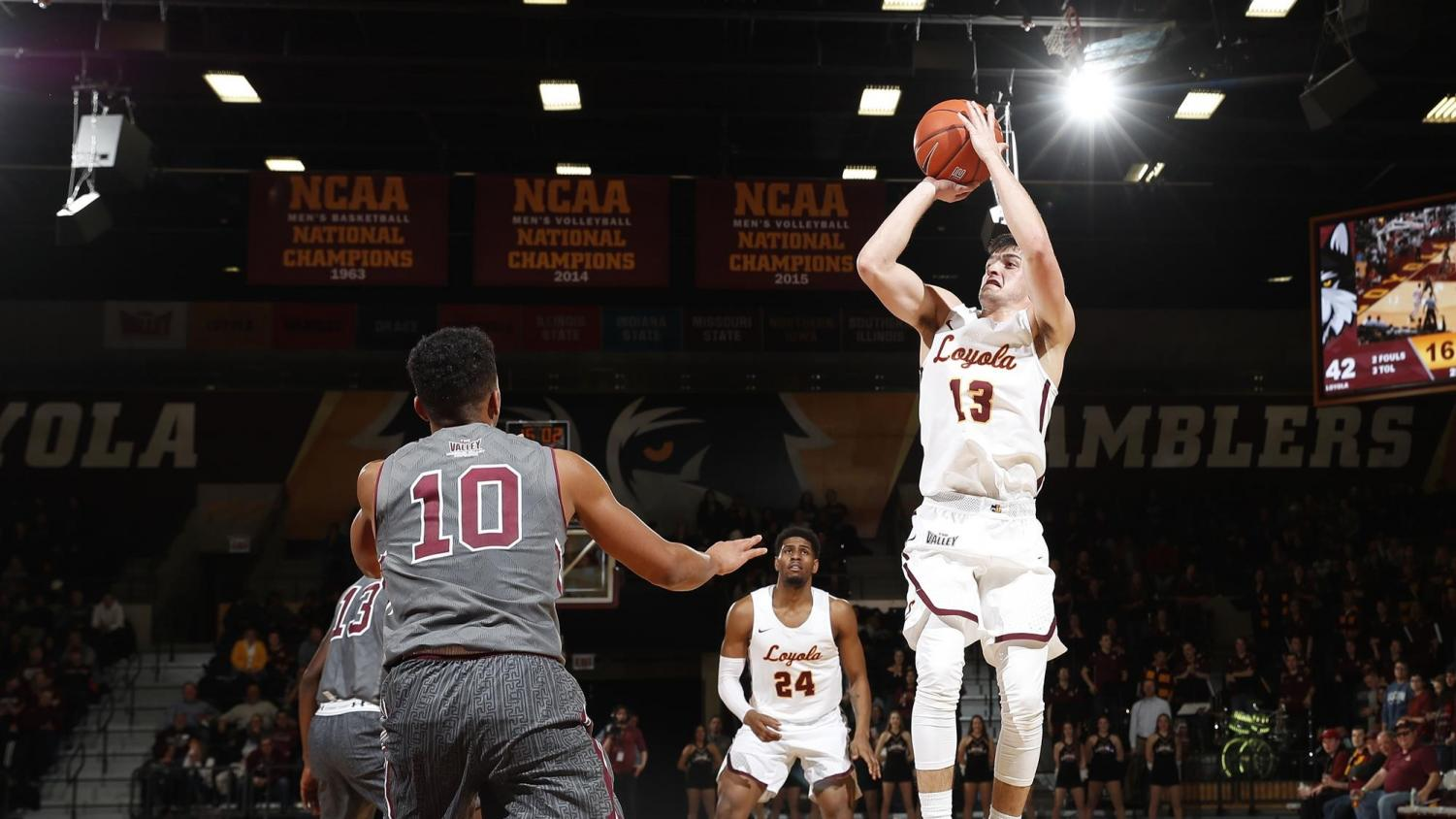 Loyola redshirt junior guard Clayton Custer (13) earned Missouri Valley Conference Player of the Year honors. Custer leads the Ramblers in scoring, 3-point percentage, assists and steals.