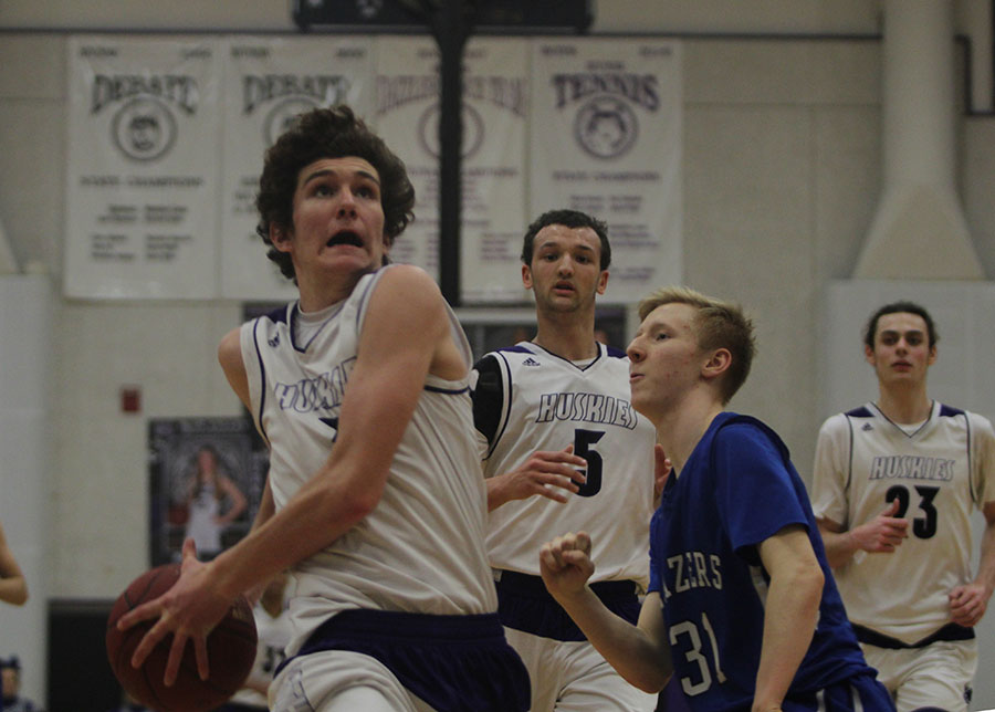 BVNW freshman Jack Chapman (3) goes up for a dunk against  Gardner Edgerton Feb. 28.