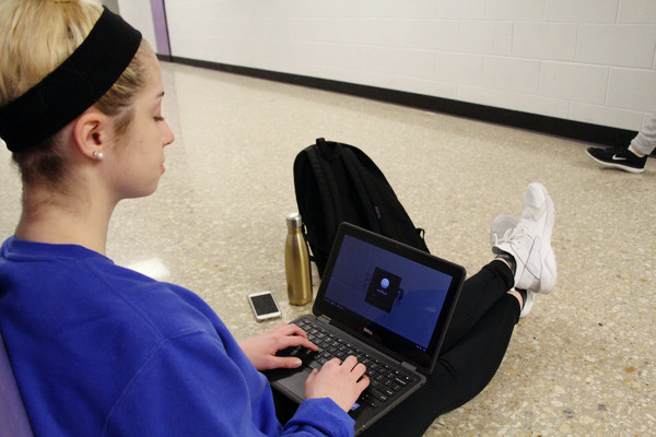 Sophomore Olivia Baxter was given a Chromebook for a Blue Valley beta test.