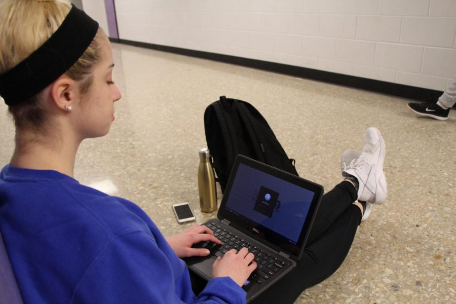 Sophomore Olivia Baxter was given a district chromebook to beta test this year.