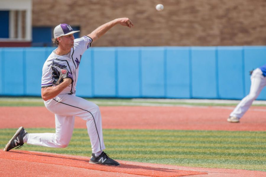Senior Will Dennis throws a pitch during the Huskies matchup with Washburn Rural at Hoglund Ballpark May 24. The Huskies defeated the Blues, 9-3.