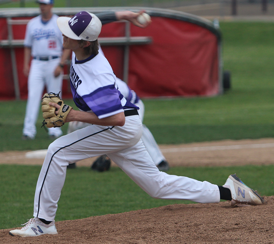 Senior Max Abramovich throws a pitch during the Huskies matchup with Bishop Miege May 1. The Huskies defeated the Stags, 4-3.