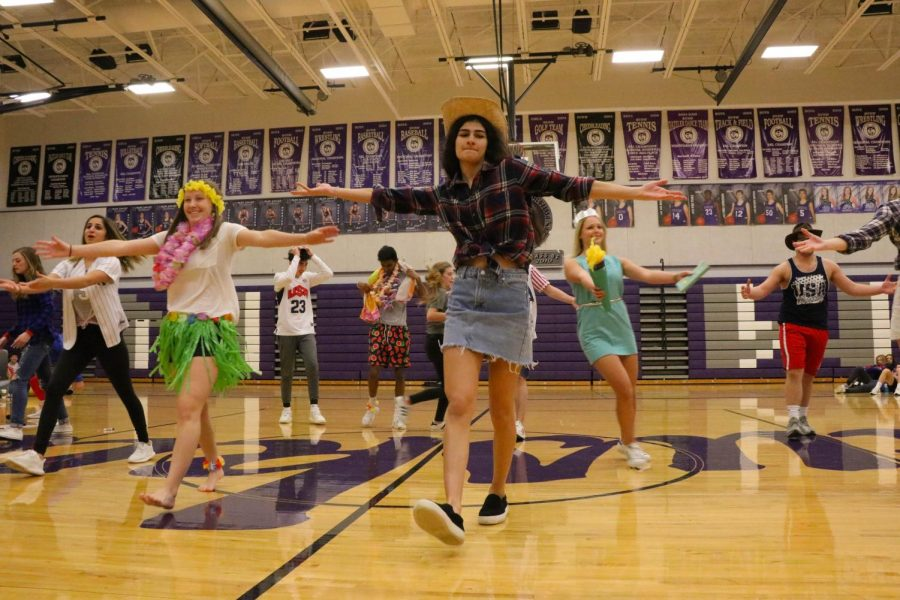 Seniors participate in their class skit on USA day, Jan 29.