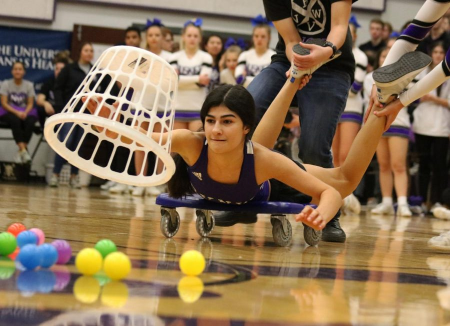 Senior Shawdee Ahmadian partakes in the class competition game,