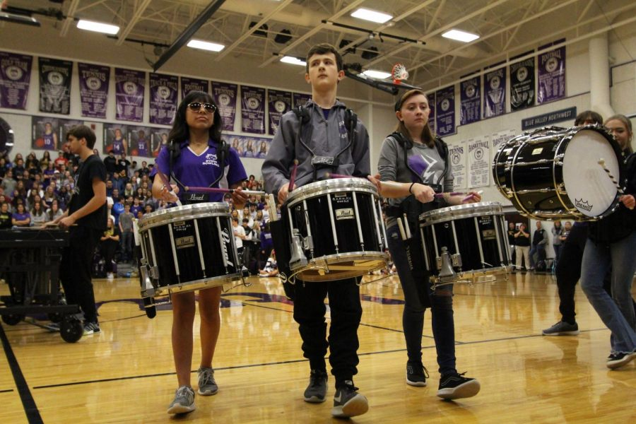 The drumline performs during the Sweetheart Assembly, Feb. 1.