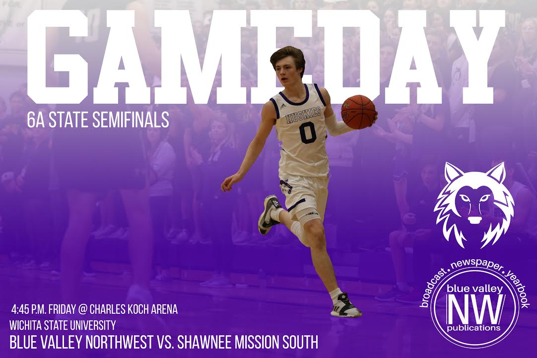 The boys varsity basketball team advances to face Shawnee Mission South in the 6A state semifinals on March 8 at the Charles Koch Arena.