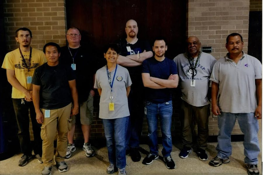 Members of the BVNW custodial staff and Souk Khamishong, farthest right. Khamishong passed away on Sept. 29, before he was set to recieve the Distinguished Service Award for his custodial services.