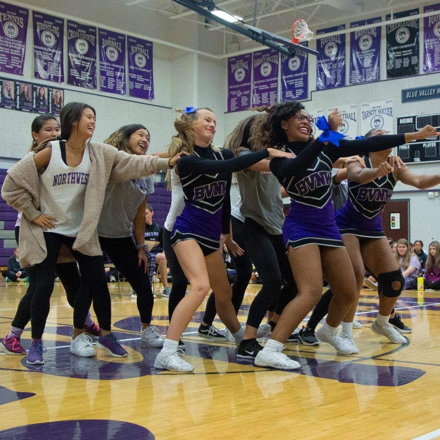 Senior girls dance together during the senior class skit, on Oct. 11.