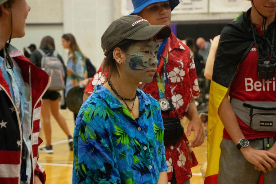 Junior Andey Hale stands in line for best dressed after the spirit skits on Oct. 7.