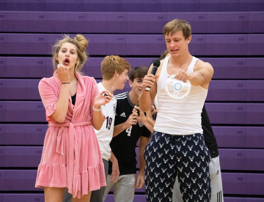 Juniors Mary Breau and Leo Clennan perform during the junior spirit dance, on Oct. 9.