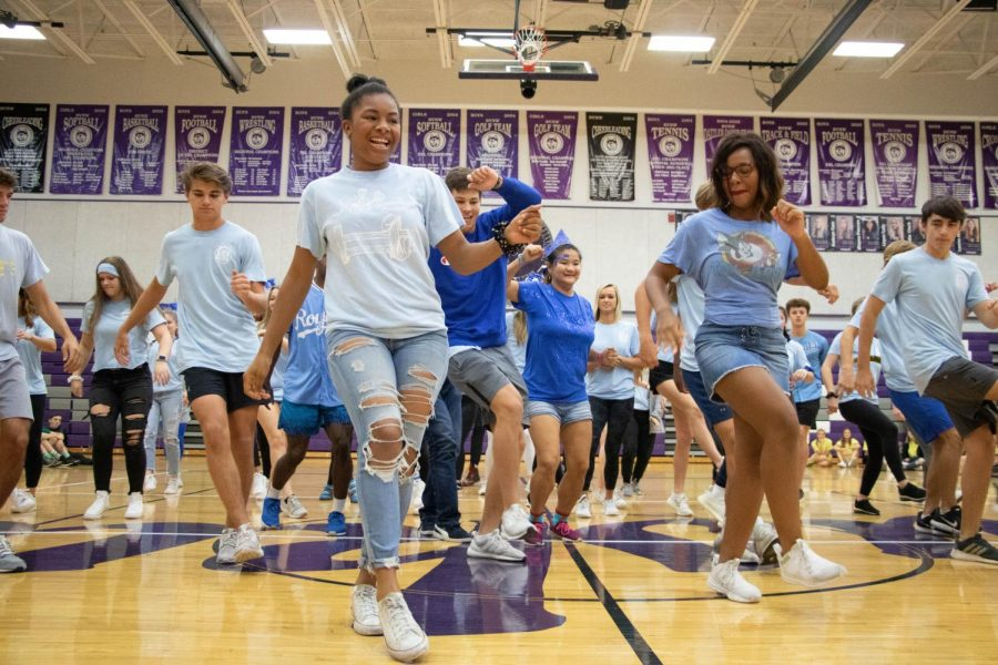 The senior class dances in front of the student body during spirit dances, on Oct. 10.