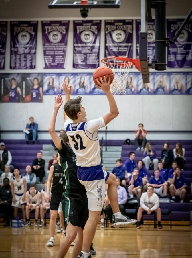 Mike Pauley goes up for a layup in the Blue Valley Northwest basketball game, against Blue Valley Southwest, on Feb.2. BVNW defeated BNSW, 70-48.