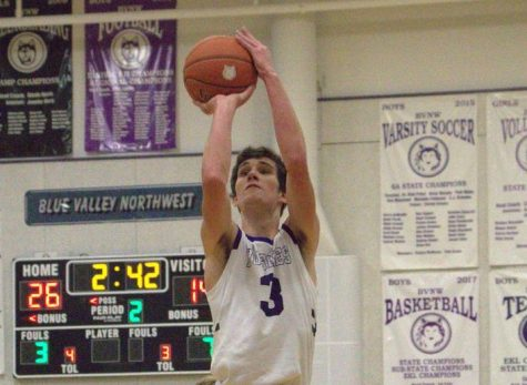 Junior Jack Chapman shoots a free throw on his way to 25 points in the boys varsity basketball game on Jan. 4.