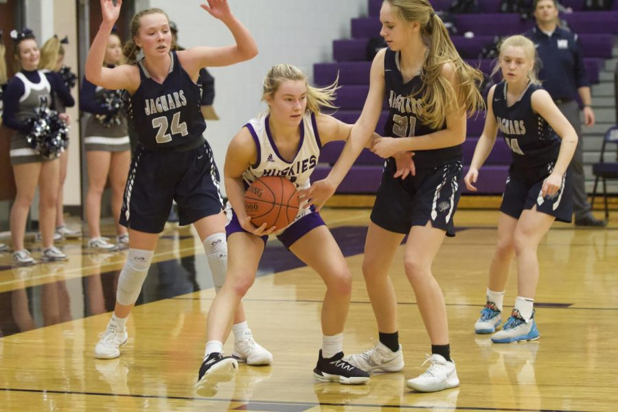 Senior Grace Coble gets double-teamed in the post.