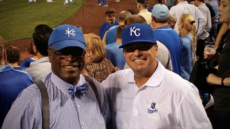 Troy+Stremming+attends+a+Royals+game+with+former+Kansas+City%2C+Mo.+mayor+Sylvester+James.+