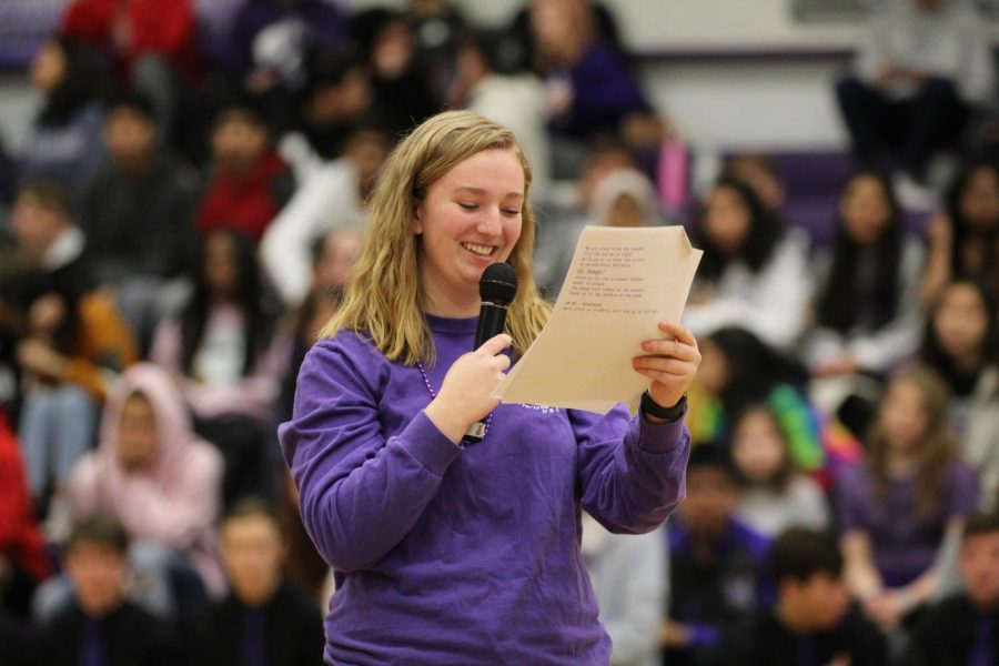 Senior and student body president Annabelle Nitz speaks during an assembly.