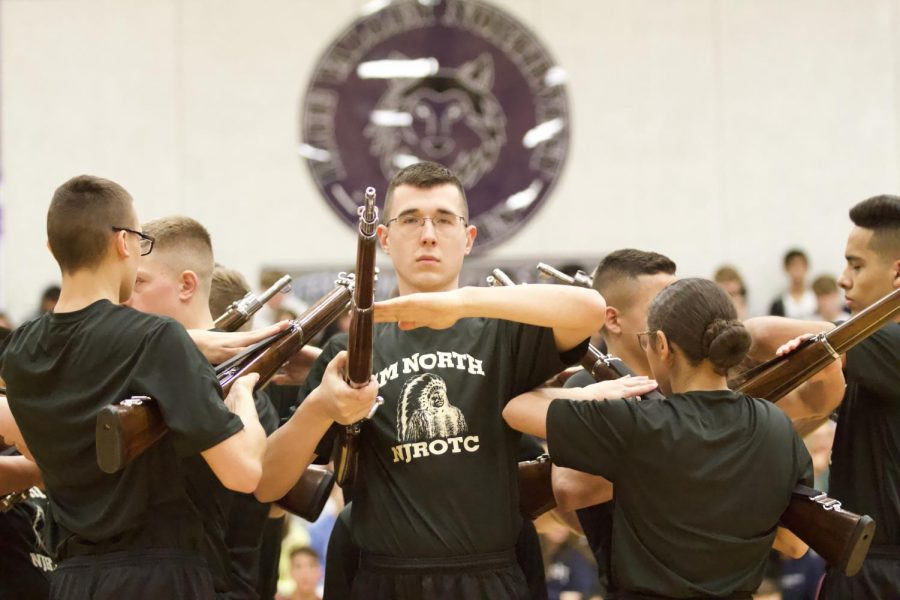The Shawnee Mission North NJROTC performs during the diversity assembly, Mar. 6.