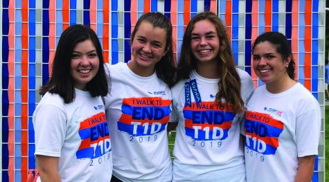 Junior Cydney Willenbring (Second from left) posing for a picture at the Juvenile Diabetes Research Foundation walk, Sep. 28 2019. Willenbring said the walk raises money toward finding a cure for Type 1 diabetes.