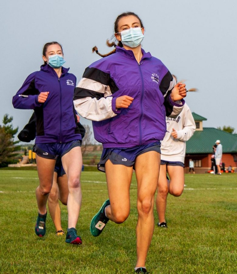 Senior+Riley+Beach+runs+in+a+meet+on+Sept.+19.