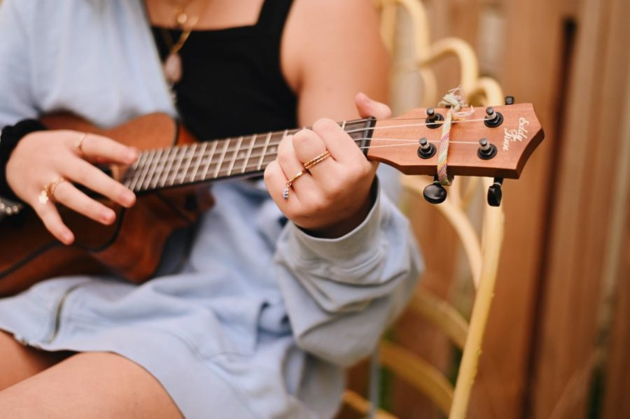 Sophomore Maddie Passett plays the ukulele  and sings in her year.