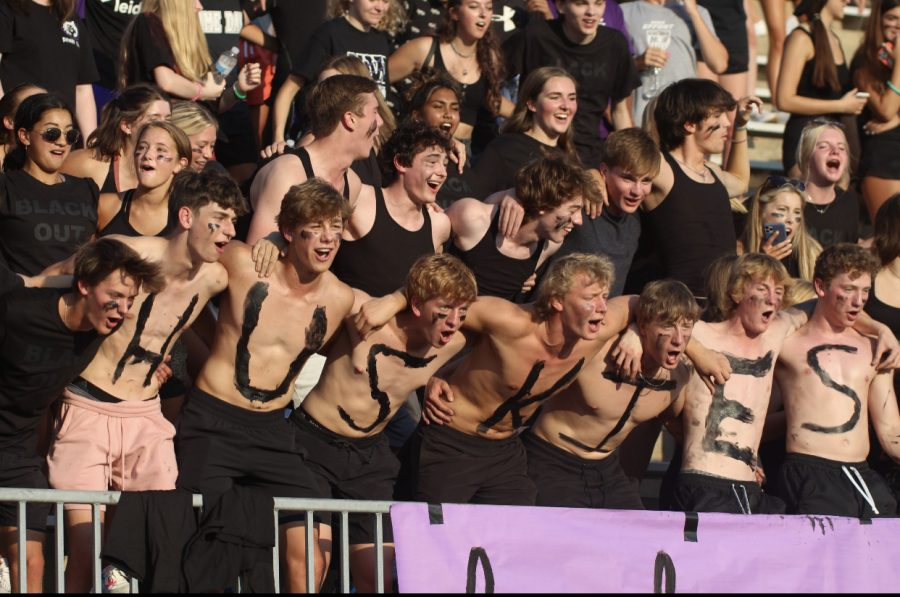 The student section cheers on the Huskies, Aug. 27.