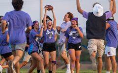 Senior Kaylin Kirchmer celebrates scoring a touchdown alongside her teammates, Aug. 29.