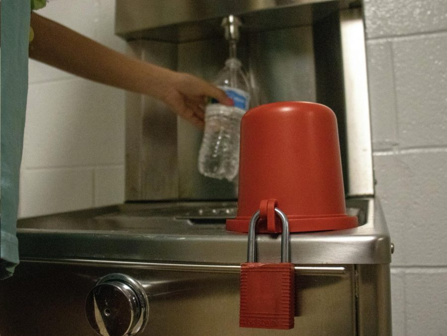 New Padlocks added to water fountains to prevent students from using them